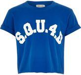 River Island Girls blue 'squ4d' crop top