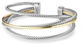 David Yurman Crossover Three-Row Cuff Bracelet With 18K Gold, 18Mm