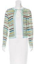 Naeem Khan Striped Silk Cardigan