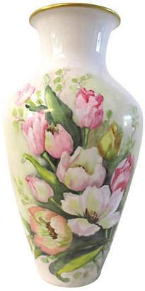 One Kings Lane Vintage German Bavarian Porcelain Tulip Vase - Osprey Blu - white/gold/multi