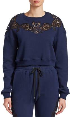 Jonathan Simkhai Lace Embroidery Crop Sweatshirt