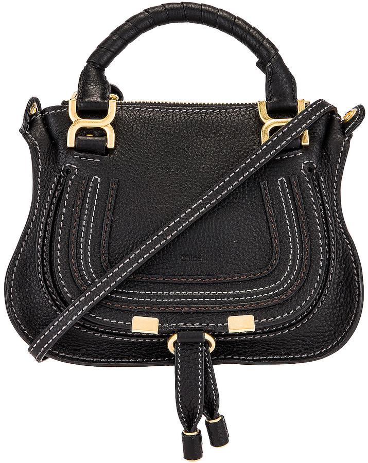 Chloé Mini Marcie Double Carry Bag in Black   FWRD