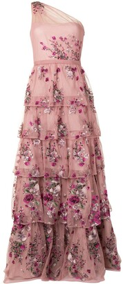 Marchesa Notte Long Floral-Embroidered Dress