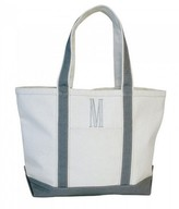 The Well Appointed House Natural Canvas Boat Tote with Gray Trim-Can Be Personalized-Available in Two Different Sizes