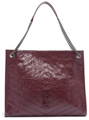Saint Laurent Niki Large Quilted-leather Tote Bag - Womens - Burgundy