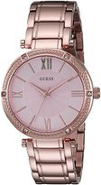 GUESS Women's U0636L2 Dressy Rose Gold-Tone Watch with Textured Pink Dial and Stainless Steel Pilot Buckle