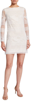SHO Long-Sleeve Lace Shift Dress