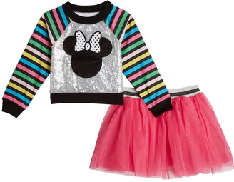 Pippa & Julie x Disney Stripe & Sequin Minnie Top & Tutu Skirt Set