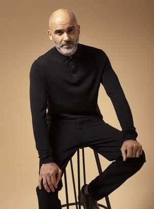 Tu PREMIUM Black Merino Wool Polo Jumper