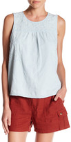 Susina Embroidered Chambray Tank