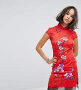Reclaimed Vintage Inspired High Neck Dress In Brocade With Floral Embroidery