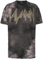 Balmain distressed batik print logo T-shirt