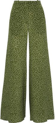 Adriana Degreas Mille Polka-dot Silk Crepe De Chine Flared Pants