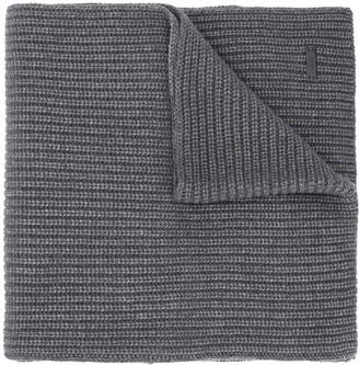 HUGO BOSS Logo Plaque Ribbed-Knit Scarf