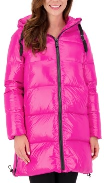 Vince Camuto High-Shine Hooded Puffer Coat