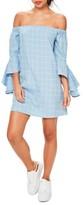Missguided Women's Bardot Ruffle Sleeve Off The Shoulder Shift Dress