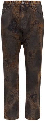 Dolce & Gabbana Rust Colour Jeans With Acid Wash Effect