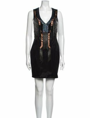 Jovani V-Neck Mini Dress Black
