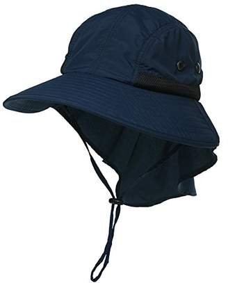 Jeff & Aimy Unisex Quick Drying UPF50+ Outdoor Sun Hat with Neck Flap Wide Brim Packable Mens Hunting Fishing Hat with Chin Strap Navy 58-61CM
