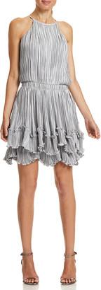 Halston Pleated Metallic Tiered Halter Dress