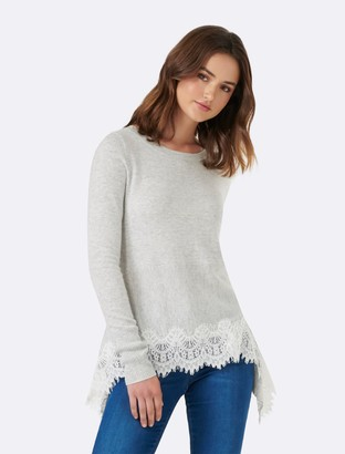 Forever New Alice Lace Hem Jumper - Iced Grey - xs