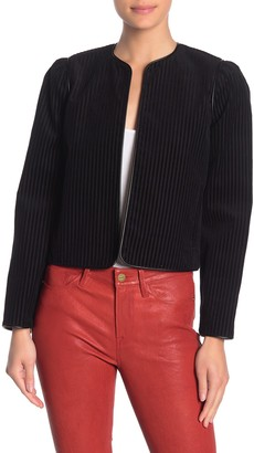 Frame Striped Velvet Crop Blazer