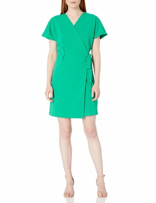 Lark & Ro Women's Short Sleeve Crepe Wrap Dress