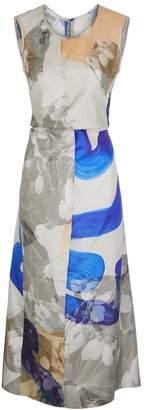 Mark Kenly Domino Tan Dia Printed Silk Midi Dress