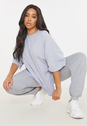 Missguided Plus Size Grey Drop Shoulder T Shirt