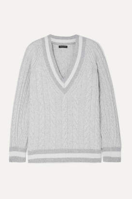 Rag & Bone Theon Oversized Striped Cable-knit Merino Wool Sweater - Gray