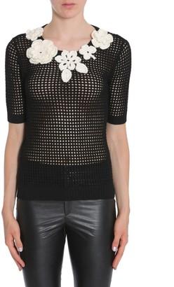Boutique Moschino Flower Applique Short Sleeve Sweatshirt