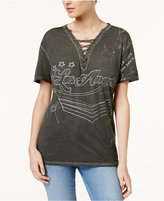 GUESS Los Angeles Graphic Lace-Up Top