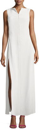Emporio Armani Zip-Front Sleeveless High-Slit Maxi Dress
