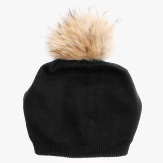 Little Red Black Fur Pom Pom Slouch Beanie
