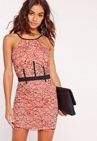 Missguided Petite Exclusive Lace Floral Mini Dress Pink