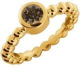 Gem Stone King 0.46 Ct Round Smoky Quartz 18k Yellow Gold Ring