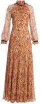 Vilshenko Ennafa peony-print silk-chiffon gown