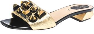 Fendi Gold Leather Studded Open Toe Flat Slides Size 38