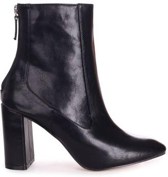 Linzi ONLY LOVE - Black Nappa Round Toe Block Heeled Boot