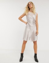AllSaints carlotta slinky and mesh mini dress in moon dust pink