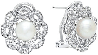 Crislu Floral Platinum Plated 8Mm Pearl & Cz Drop Earrings
