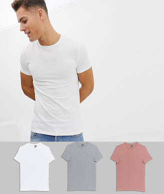 Asos Design DESIGN 3 pack muscle fit crew neck t-shirt save-Multi