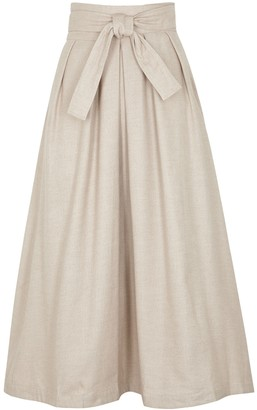 Mark Kenly Domino Tan Nicole stone brushed cotton-twill midi skirt
