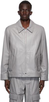 Helmut Lang Grey Leather Zip Jacket