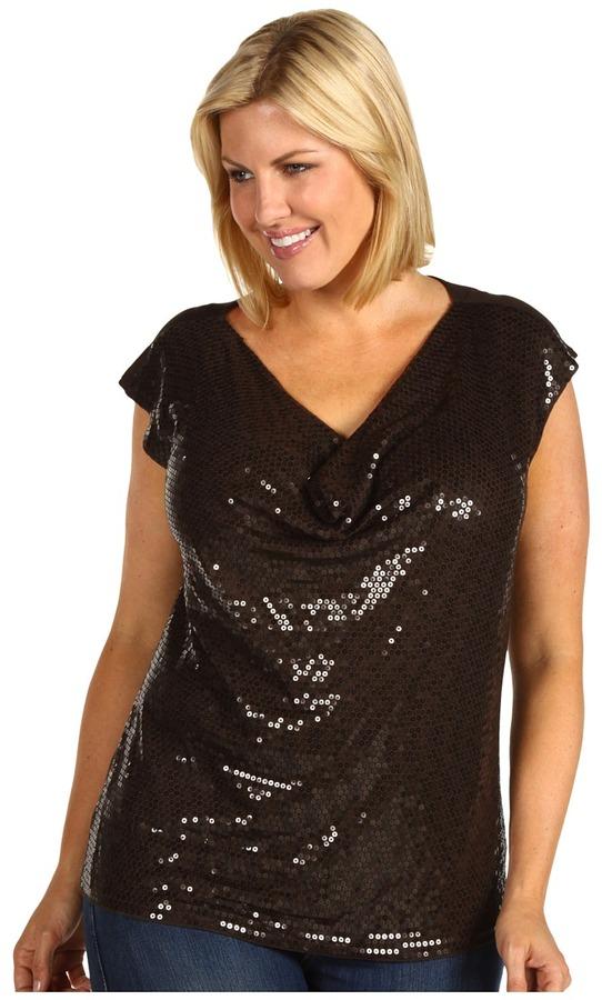 MICHAEL Michael Kors Plus Size Cap Sleeve Sequin Drape Top (Bark) - Apparel