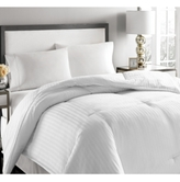 Blue Ridge 500-Thread Count Damask Stripe Twin White Down Comforter