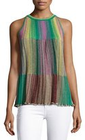 M Missoni Sleeveless Metallic Striped Plissé Blouse, Multi
