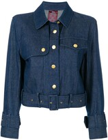 John Galliano Pre Owned belted denim jacket