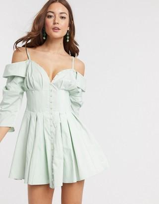ASOS DESIGN off shoulder corset detail mini shirt dress with button detail