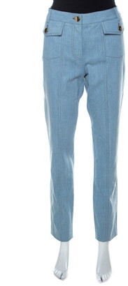 Moschino Blue Light Wash Front Button Detail Straight Cut Jeans L